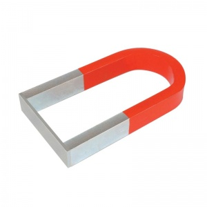 Red and Silver Horseshoe Magnet with Yoke