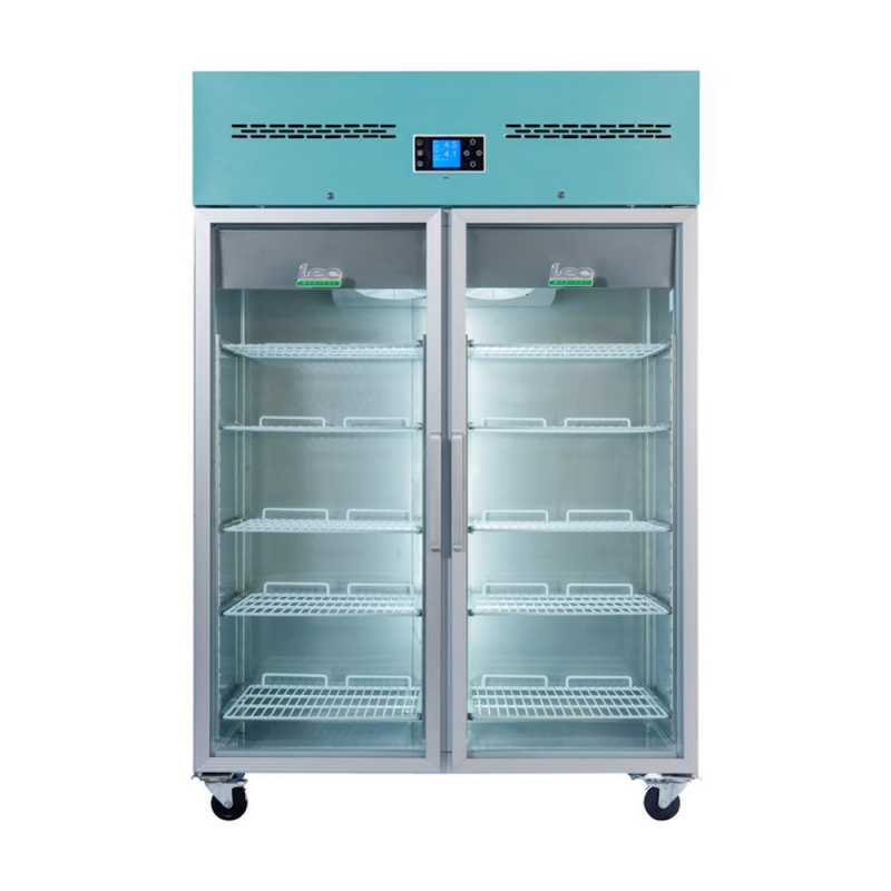 Lec PGR1200UK Large Glass Double-Door Freestanding Pharmacy Refrigerator (1200L)