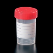 Polypropylene 60ml Container with Plastic Cap and Label