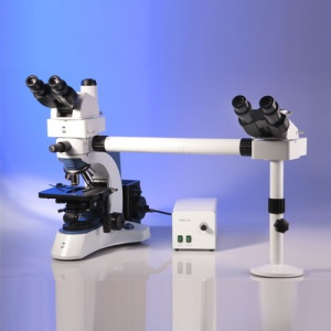 Triton II Trinocular Research Microscope with 3 Teaching Heads